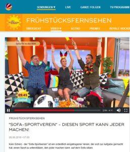Screenshot SAT.1 Frühstücksfernsehen am 8.6.2018 mit Sofasport